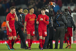 Halbfinale im Liga-Pokal Liverpool vs Leeds 1:0 in Liverpool / 291116<br /> <br /> ***LIVERPOOL, ENGLAND 29TH NOVEMBER 2016:<br /> Liverpool forward Ben Woodburn centre who scored teh second goal for his side smiles as he stands with teammate Trent Alexander-Arnold centre left after the English League Cup soccer match between Liverpool and Leeds at Anfield Stadium in Liverpool England November 29th 2016***