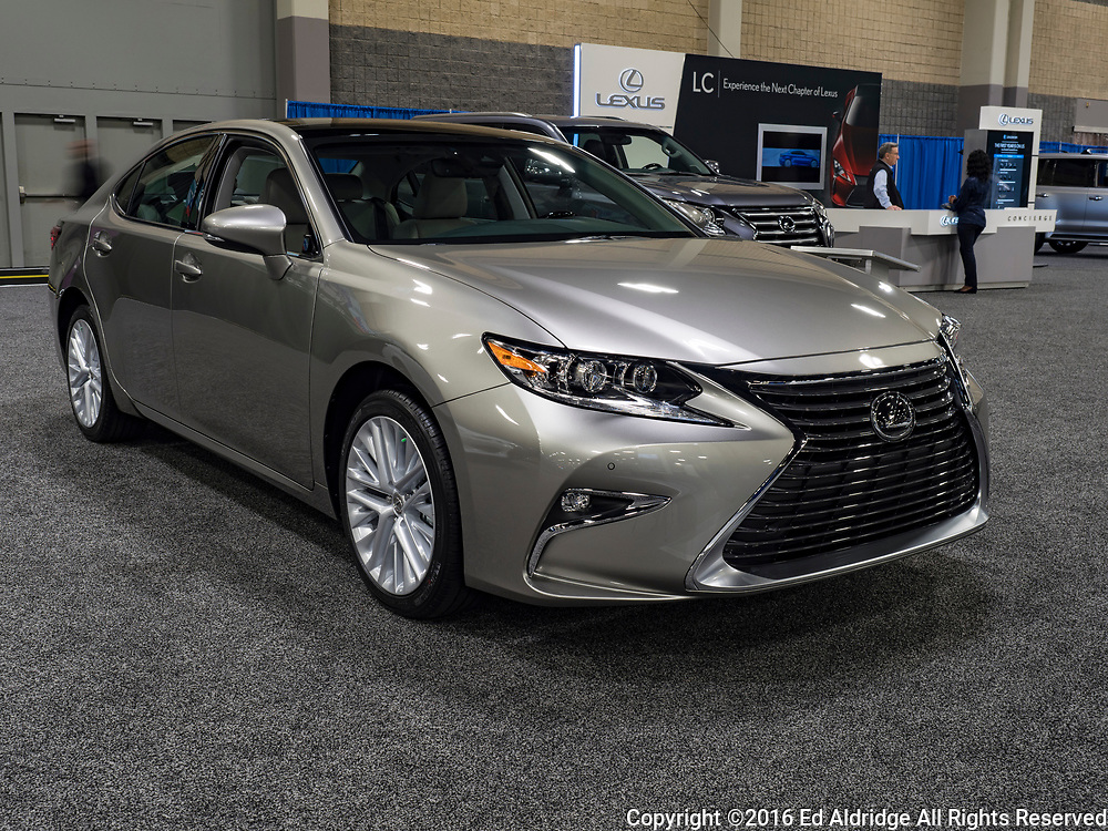 CHARLOTTE, NC, USA - NOVEMBER 17, 2016: Lexus ES 350 on display during the 2016 Charlotte International Auto Show at the Charlotte Convention Center in downtown Charlotte.