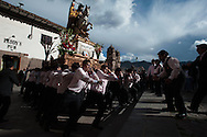 Feast of Corpus Christi. The bearers of Santiago up the stairs to the Cathedral