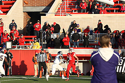 05 December 2015:  Anthony Warrum(82) looks up to find a pass for a pair of point after points. NCAA FCS Round 2 Football Playoff game between Western Illinois Leathernecks and Illinois State Redbirds at Hancock Stadium in Normal IL (Photo by Alan Look)