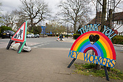 As the second week of the Coronavirus lockdown continues the UK death toll rises by 569 to 2,921, with 1m figure reported cases of Covid-19 being passed worldwide, a home-made tribute appreciating the work of NHS workers is propped up against a tree on Denmark Hill which leads to nearby Kings College Hospital in Camberwell, one of the capital's major centres treating CV-19 patients, on 2nd April 2020, in London, England.