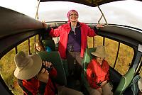 Tourists on safari peer out of the pop up roof of a Mountain Travel Sobek safari vehicle, Ngorongoro Crater, Ngorongoro Conservation Area, Tanzania