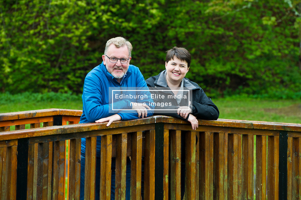 Pictured: Ruth Davidson and David Mundell<br /> <br /> Scottish Tory leader Ruth Davidson and Scottish Secretary David Mundell took to the campaign trail in West Linton today.<br /> <br /> Ger Harley | EEm 13 May 2017