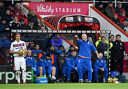 Stoke City Manager Paul Lambert gestures on the touchline during the Premier League match at the Vitality Stadium, Bournemouth.