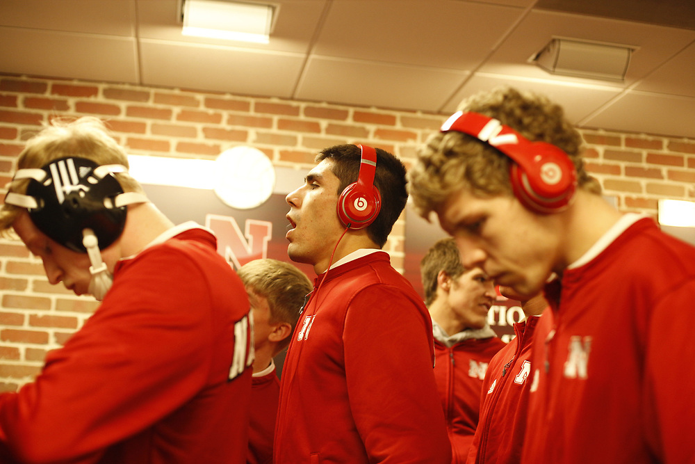 Junior Eric Montoya prepares to take the floor prior to Nebraska's match against Northwestern at the Bob Devaney Sports Center in Lincoln, Neb., on Feb. 12, 2016. Photo by Aaron Babcock, Hail Varsity