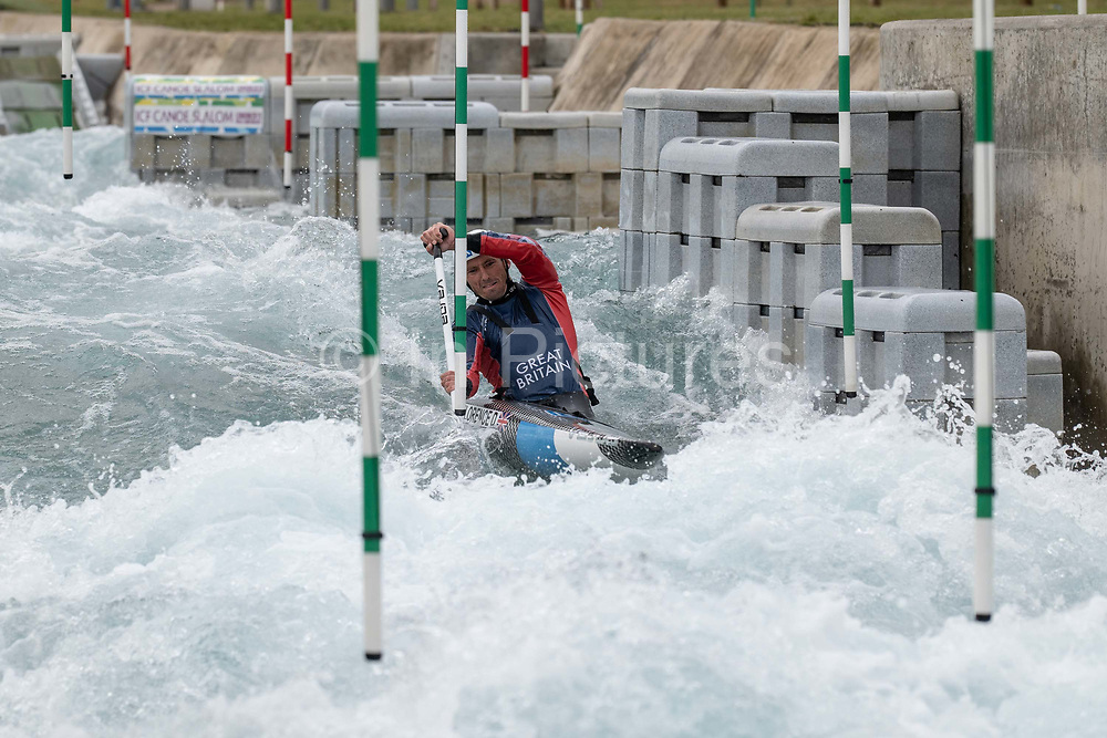 Three time Olympic silver medallist, David Florence at Lee Valley White Water Centre with Team GBs Canoe Slalom Team on the 7th June 2019 in London in the United Kingdom. Mens slalom canoeists, David Florence is one of the world's top mens slalom canoeists. He is a three time Olympic silver medallist, a three time World Champion and has won more than 25 World Cup medals including 9 golds.