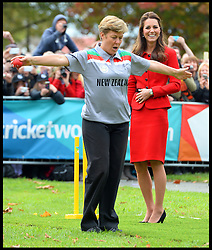 Umpire Debbie Hockley indicates to Prince William that his bowl to The Duchess of Cambridge was wide as The Duke and Duchess play cricket in a 2015 Cricket World Cup event in Christchurch, New Zealand on day 8 of the Royal Tour of New Zealand and Australia. Monday, 14th April 2014. Picture by Andrew Parsons / i-Images