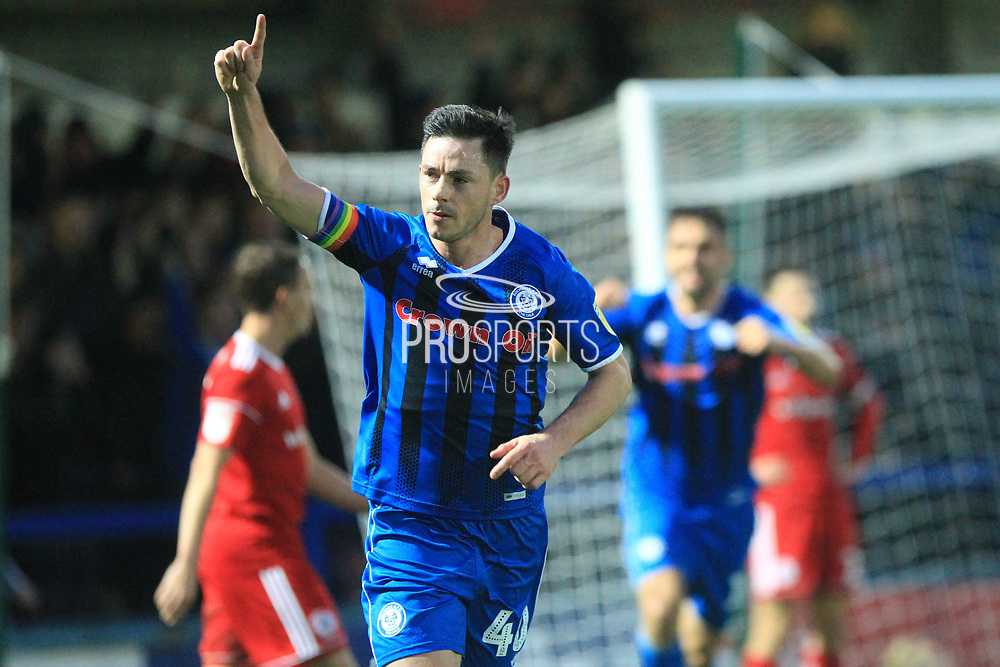 GOAL Ian Henderson celebrates scoring the winner 1-0 during the EFL Sky Bet League 1 match between Rochdale and Accrington Stanley at Spotland, Rochdale, England on 24 November 2018.
