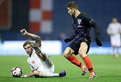 ZAGREB, Nov. 15, 2018  Inigo Martinez (L) of Spain and Andrej Kramaric (R) of Croatia during the UEFA Nations League A group 4 match between Croatia and Spain at Maksimir stadium in Zagreb, Croatia, on November 15. Croatia won 3:2. (Credit Image: © Igor Kralj/Pixsell/Xinhua via ZUMA Wire)
