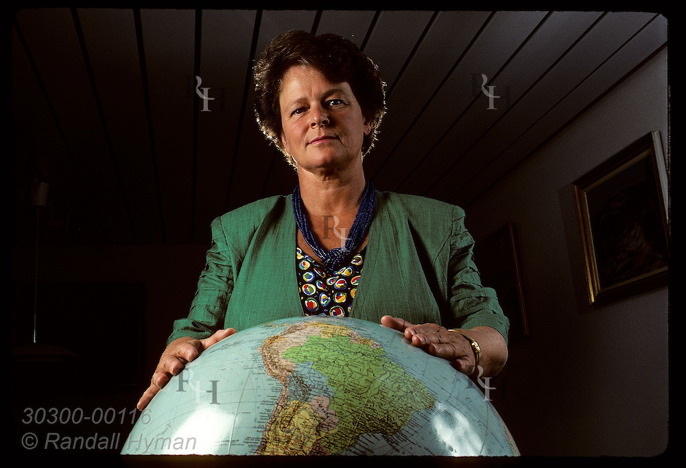 Prime Minister Gro Harlem Brundtland-head of World Commission on Envrnmt & Devlpmnt-poses w/globe Norway