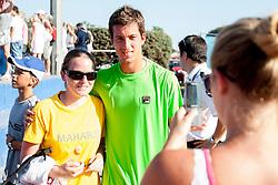 Aljaz Bedene (SLO) with fan after a tennis match against the Boy Westerhof (NED) in 1st round of singles at 24 ATP Vegeta Croatia Umag 2013, on July 23, 2013, in Umag, Croatia. (Photo by Urban Urbanc / Sportida)