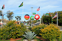 Football Fifa Brazil 2014 World Cup / <br /> Guest House and Training Center of Germany and Switzerland ( Porto Seguro / Bahia , Brazil ) -<br /> Entrance of the Porto Seguro City, there are signs of Germany and Switzerland as well as those of Brazil
