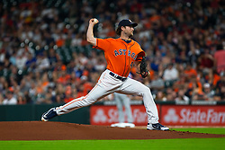 April 13, 2018 - Houston, TX, U.S. - HOUSTON, TX - APRIL 13: Houston Astros starting pitcher Gerrit Cole (45) delivers the pitch in the first inning during an MLB game between the Houston Astros and the Texas Rangers and April 13, 2018 at Minute Maid Park in Houston, TX.  (Photo by Juan DeLeon/Icon Sportswire) (Credit Image: © Juan Deleon/Icon SMI via ZUMA Press)