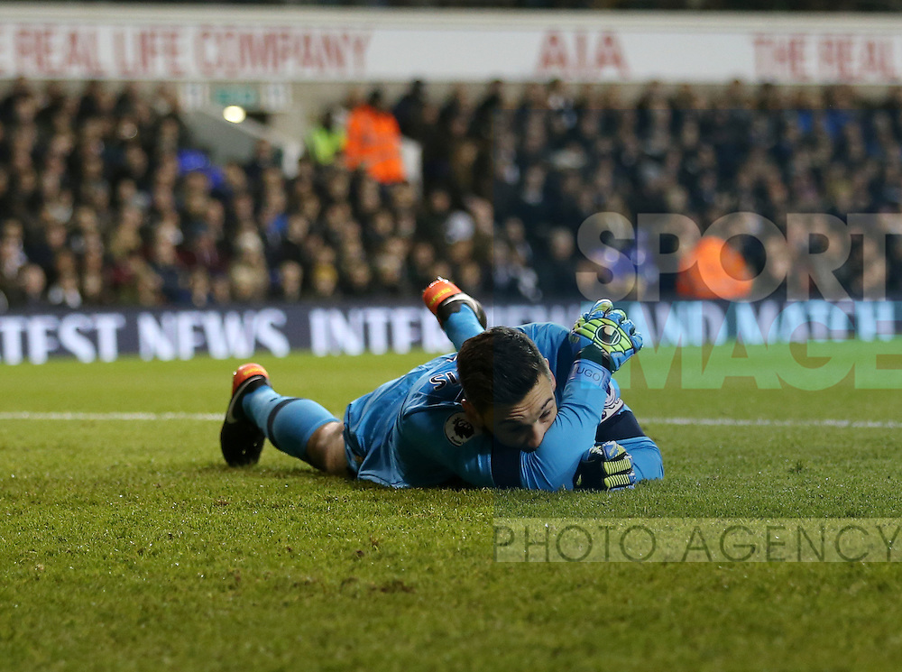 Tottenham's Hugo Lloris looks on dejected after Burnley's opening goal during the Premier League match at White Hart Lane Stadium, London. Picture date December 18th, 2016 Pic David Klein/Sportimage