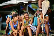 Woman canoe paddlers, Papeete, Tahiti, French Polynesia