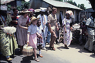First Lady Rosalyn Carter and daughter Amy tour the village of Badagry during President Carters visit to Nigeria on April 2, 1978<br /> Photo by Dennis Brack