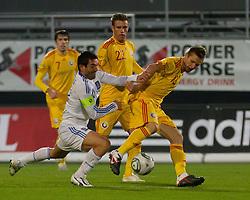 15.11.2011, Cashpoint Arena, Altach, AUT, FSP, Rumaenien (ROM) vs Griechenland (GRE), im Bild Zweikampf zwischen Giorgos Karagounis, (Griechenland, #10) und Ionut Neagu, (Rumaenien, #13)  // during the international friendlies football match between Romania (ROM) and Greece (GRE) at Cashpoint Arena, Altach, Austria on 15/11/2011. EXPA Pictures © 2011, PhotoCredit: EXPA/ P.Rinderer