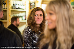 One of the best parts of Italy - the Food! Ela Dutch at a wonderful dinner at the 12 Apostles Restaurant (in continuous operation with the same name for almost 300 years) during Motor Bike Expo. Verona, Italy. January 23, 2016.  Photography ©2016 Michael Lichter.