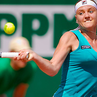 Agnes Szavay (HUN) plays during the Gaz de France Suez WTA tour Grand Prix international women tennis competition held at Roman Tennis Academy in Budapest, Hungary. Tuesday, 06. July 2010. ATTILA VOLGYI