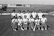 The Cork team before the All Ireland Senior Camogie Final Cork v Wexford in Croke Park on the 21st September 1975. Wexford 4-3 Cork 1-2.<br /> <br /> Deirdre Sutton, Marie Costine, Nuala Jennings, Sheila Dunne-Morgan, Mary Whelton, Marion McCarthy, Pat Moloney, Bernie Costine, Mary O'Leary (Capt), Cathy O'Riordan, Nancy O'Driscoll, Marion Sweeney.