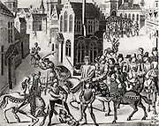 The Peasants' Revolt of 1381 in England began in Brentwood, Essex as a protest at the collection of poll tax and reached a climax at Smithfield, London.  Richard II (1367-1800) met the Kentish peasants who, under Watt Tyler (d1381), were demanding the end of serfdom. During the meeting William Walworth (d1385) Lord Mayor of London, wounded Wat Tyler who was taken to St Bartholomew's Hospital but was later dragged out of the hospital and beheaded. 19th century lithograph.