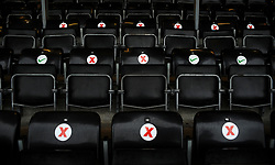 Social distancing measure put in place for the return of supporters with seats marked for fans to sit in- Mandatory by-line: Nizaam Jones/JMP - 14/11/2020 - FOOTBALL - innocent New Lawn Stadium - Nailsworth, England - Forest Green Rovers v Mansfield Town - Sky Bet League Two