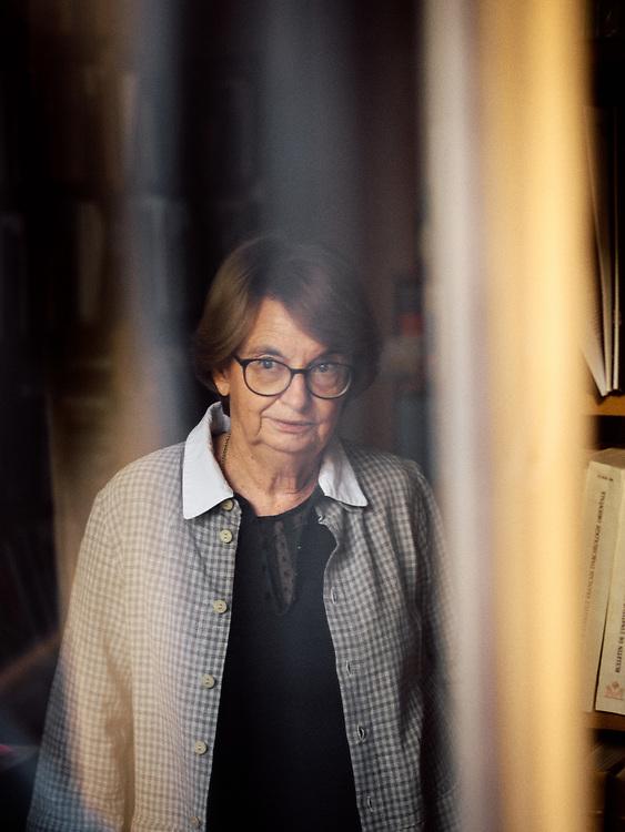 Guillemette Andreu-Lanoe, an Egyptologist and archaeologist, posing in her study. Paris, France. February 18, 2019.<br /> Guillemette Andreu-Lanoe, egyptologue et archeologue, pose dans son bureau. Paris, France. 18 fevrier 2019.