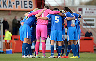 Portsmouth have a pre match team talk during the Sky Bet League 2 match between Cheltenham Town and Portsmouth at Whaddon Road, Cheltenham, England on 20 December 2014. Photo by Alan Franklin.