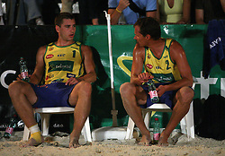 Andrej Flajs (EMA TV Team) and Rok Satler at qualifications for 14th National Championship of Slovenia in Beach Volleyball and also 4th tournament of series TUSMOBIL LG presented by Nestea, on July 25, 2008, in Kranj, Slovenija. (Photo by Vid Ponikvar / Sportal Images)/ Sportida)