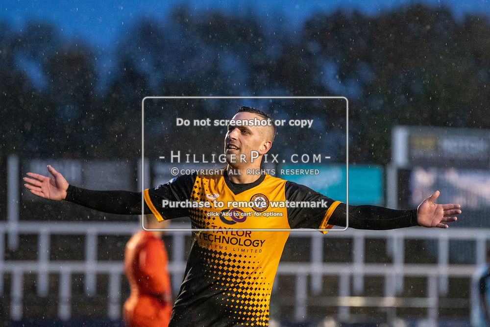 BROMLEY, UK - NOVEMBER 09: Joseph Taylor, of Cray Wanderers FC, celebrates scoring on his way to an 8 minute hat-trick during the BetVictor Isthmian Premier League match between Cray Wanderers and Cheshunt at Hayes Lane on November 9, 2019 in Bromley, UK. <br /> (Photo: Jon Hilliger)