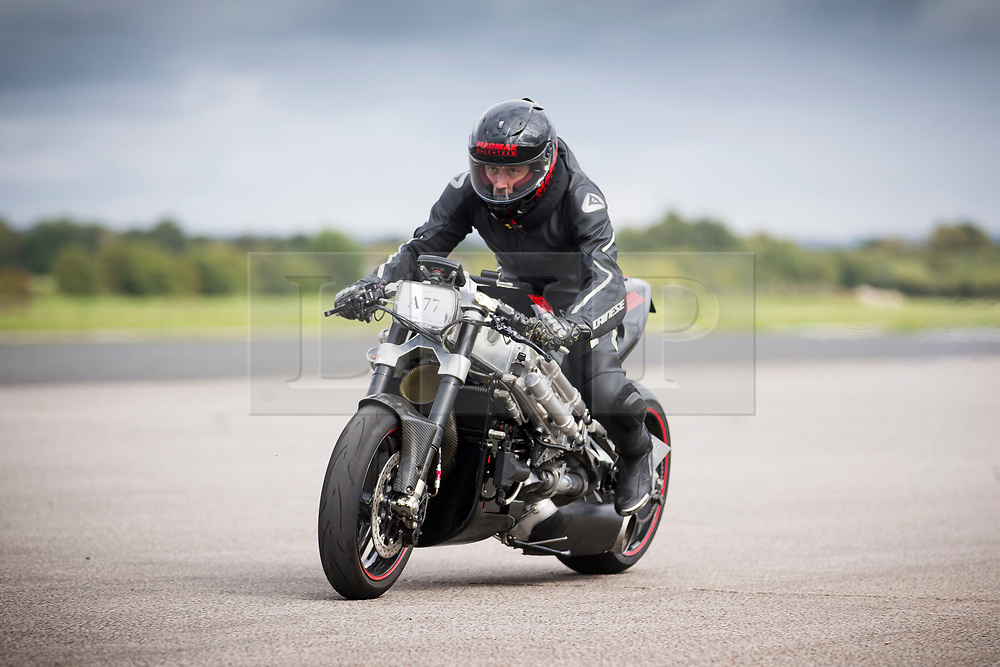 © Licensed to London News Pictures. FILE PHOTO: 16/09/2017. York UK. Zef Eisenberg, who died while attempting to break the British Land Speed Record. Pictured riding a Jet Turbine bike at Elvington Airfield near York in September 2017. Photo credit: Andrew McCaren/LNP