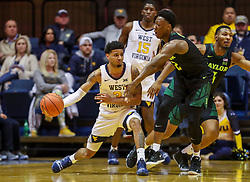 Jan 21, 2019; Morgantown, WV, USA; West Virginia Mountaineers guard James Bolden (3) passes the ball during the first half against the Baylor Bears at WVU Coliseum. Mandatory Credit: Ben Queen-USA TODAY Sports