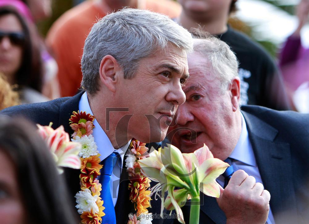 Visita do primeiro ministro Jose Socrates ao Funchal para assistir ao cortejo da Festa da Flor,com  Alberto Joao Joao Jardim, Monteiro Diniz.Foto Gregorio Cunha