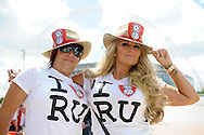 two Female Rotherham United fans pose before k.o Skybet football league one play off final match , Leyton Orient  v Rotherham Utd at Wembley Stadium in  London on Sunday 25th May 2014.<br /> pic by John Patrick Fletcher, Andrew Orchard sports photography.