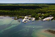 Aerial view of Jackson Harbor, on the northeast side of Washington Island, Door County, Wisconsin.