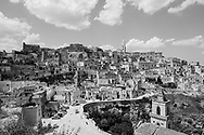 This picture taken on July 24, 2020 shows a general view of Sassi di Matera, two districts (Sasso Caveoso and Sasso Barisano) of the Italian city of Matera, Basilicata, well-known for their ancient cave dwellings inhabited since the Paleolithic period.