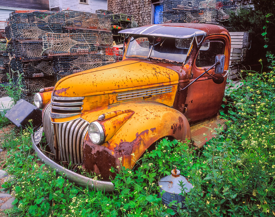 Old chevy truck, & lobster fishing gear, Cape Porpoise, ME