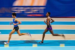 Mahadi Abdi Ali, Noah Schutte (L) in action on 3000 meter during the Dutch Indoor Athletics Championship on February 23, 2020 in Omnisport De Voorwaarts, Apeldoorn