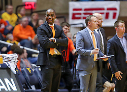 Jan 12, 2019; Morgantown, WV, USA; Oklahoma State Cowboys head coach Mike Boynton reacts after a call during the second half against the West Virginia Mountaineers at WVU Coliseum. Mandatory Credit: Ben Queen-USA TODAY Sports