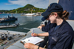 SASEBO, Japan (May 4, 2017) Quartermaster Seaman Rhalina Cubitt writes in a deck log as the amphibious transport dock USS Green Bay (LPD 20) moors pierside in Sasebo, Japan after completing a Mid-Cycle Inspection (MCI). Green Bay is assigned to commander, Amphibious Squadron 11, conducted at-sea preparations for its upcoming MCI, which is the mid-year point prior to the Board of Inspection and Survey (INSURV) and is used to inspect and assess the material conditions of a ship. (U.S. Navy photo by Mass Communication Specialist 1st Class Chris Williamson/Released)170504-N-JH293-021 <br /> Join the conversation:<br /> http://www.navy.mil/viewGallery.asp<br /> http://www.facebook.com/USNavy<br /> http://www.twitter.com/USNavy<br /> http://navylive.dodlive.mil<br /> http://pinterest.com<br /> https://plus.google.com
