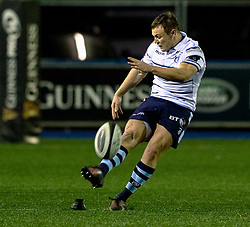 Jarrod Evans of Cardiff Blues kicks a penalty<br /> <br /> Photographer Simon King/Replay Images<br /> <br /> Guinness PRO14 Round 15 - Cardiff Blues v Glasgow Warriors - Saturday 16th February 2019 - Cardiff Arms Park - Cardiff<br /> <br /> World Copyright © Replay Images . All rights reserved. info@replayimages.co.uk - http://replayimages.co.uk