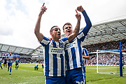 Brighton & Hove Albion striker Solly March celebrates with Brighton & Hove Albion winger Anthony Knockaert after scoring a goal to make it 2-0 during the EFL Sky Bet Championship match between Brighton and Hove Albion and Wigan Athletic at the American Express Community Stadium, Brighton and Hove, England on 17 April 2017. Photo by Bennett Dean.