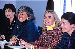First lady Hillary Rodham Clinton meets with the bipartisan Congressional Caucus for Women's Issues on Capitol Hill in Washington, D.C, USA, on Tuesday, February 23, 1993. Pictured from left to right: U.S. Representative Nancy Pelosi (Democrat of California); U.S. Representative Pat Schroeder (Democrat of Colorado), Co-Chair of the Caucus; Hillary Rodham Clinton; and U.S. Representative Olympia Snowe (Republican of Maine), Co-Chair of the Caucus. The meeting was to discuss women's issues. Photo by Jeff Markowitz/Pool/CNP/ABACAPRESS.COM