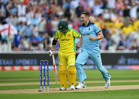 Cricket - 2019 ICC Cricket World Cup - Semi-Final: England vs. Australia<br /> <br /> England's Chris Woakes celebrates taking the wicket of Australia's David Warner caught by England's Jonny Bairstow for 9, at Edgbaston, Birmingham.<br /> <br /> COLORSPORT/ASHLEY WESTERN