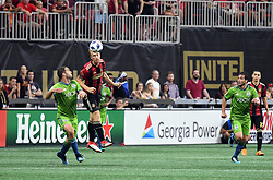 July 15, 2018 - Atlanta, GA, USA - Atlanta, Georgia - Saturday, July 15, 2018. Atlanta United drew with Seattle Sounders FC, 1-1, in front of an MLS single-match record crowd of 72,243 at Mercedes-Benz Stadium. (Credit Image: © Perry Mcintyre/ISIPhotos via ZUMA Wire)