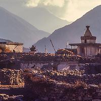 A village in the Kali Gandaki Valley in Nepal
