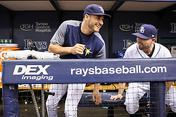 June 9, 2017 - St. Petersburg, Florida, U.S. - WILL VRAGOVIC   |   Times.Tampa Bay Rays center fielder Kevin Kiermaier (39) takes a seat in the dugout after walking in on crutches before the start of the game between the Tampa Bay Rays and the Oakland Athletics at Tropicana Field in St. Petersburg, Fla. on Friday, June 79, 2017. Kevin Kiermaier will miss about two months with a fractured hip. (Credit Image: © Will Vragovic/Tampa Bay Times via ZUMA Wire)