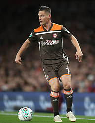 """Brentford's Sergi Canos during the Carabao Cup, Third Round match at the Emirates Stadium, London. PRESS ASSOCIATION Photo. Picture date: Wednesday September 26, 2018. See PA story SOCCER Arsenal. Photo credit should read: Nick Potts/PA Wire. RESTRICTIONS: EDITORIAL USE ONLY No use with unauthorised audio, video, data, fixture lists, club/league logos or """"live"""" services. Online in-match use limited to 120 images, no video emulation. No use in betting, games or single club/league/player publications."""
