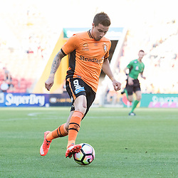 BRISBANE, AUSTRALIA - OCTOBER 30: Jamie MacLaren of the roar dribbles the ball during the round 4 Hyundai A-League match between the Brisbane Roar and Perth Glory at Suncorp Stadium on October 30, 2016 in Brisbane, Australia. (Photo by Patrick Kearney/Brisbane Roar)