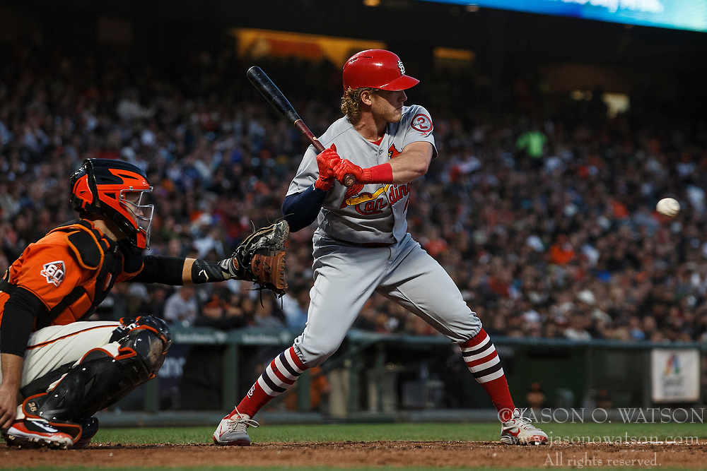 SAN FRANCISCO, CA - JULY 06: Harrison Bader #48 of the St. Louis Cardinals at bat against the San Francisco Giants during the fifth inning at AT&T Park on July 6, 2018 in San Francisco, California. The San Francisco Giants defeated the St. Louis Cardinals 3-2. (Photo by Jason O. Watson/Getty Images) *** Local Caption *** Harrison Bader